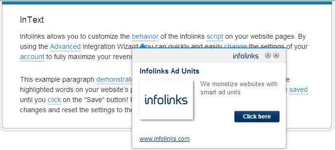intext infolink ads