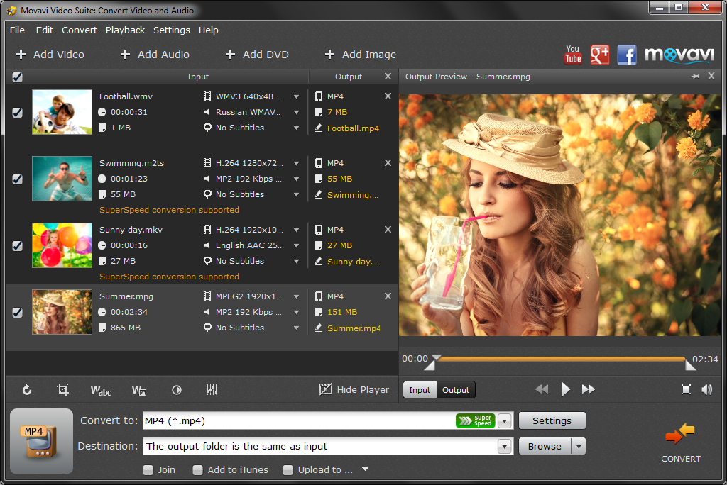 Convert Videos and Audios to any format Movavi Video Suite