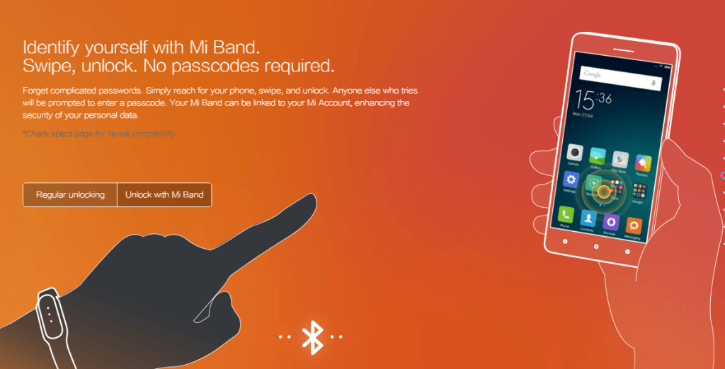 Identify yourself with Mi Band. Swipe, unlock. No passcodes required.