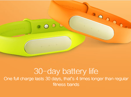 The Xiaomi Mi Band gives you a battery backup of a whooping 30 days