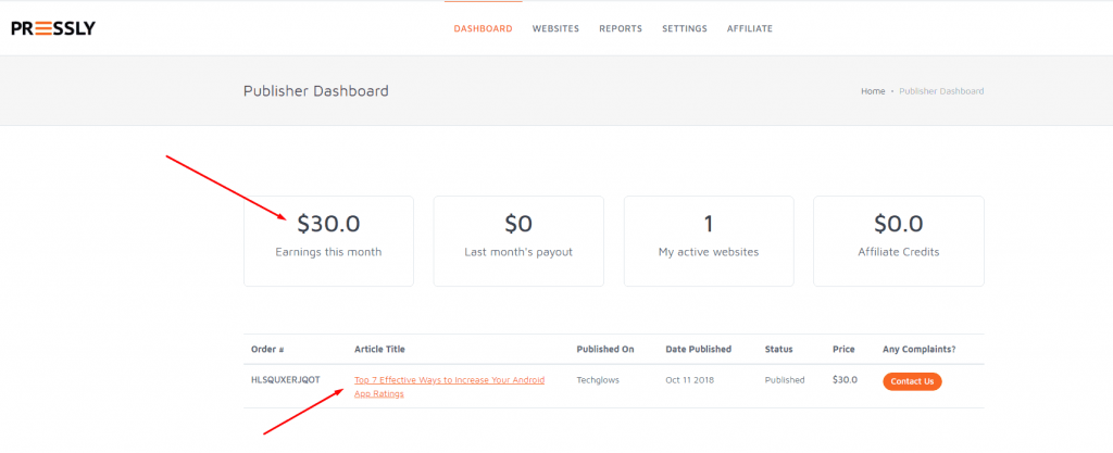 Pressly Payment dashboard proof