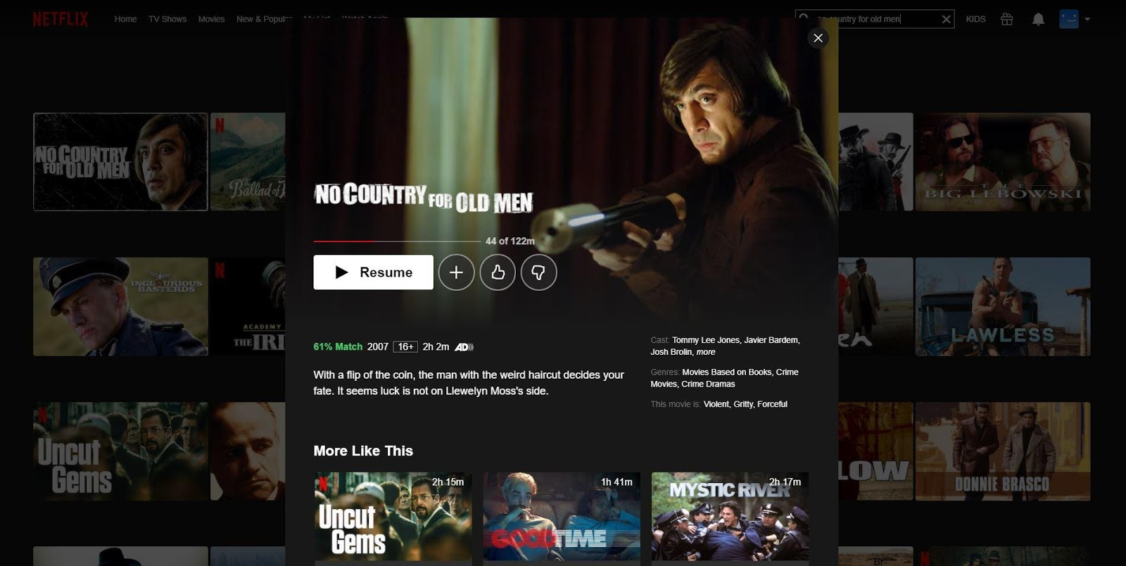 Can I Watch No Country for Old Men on Netflix